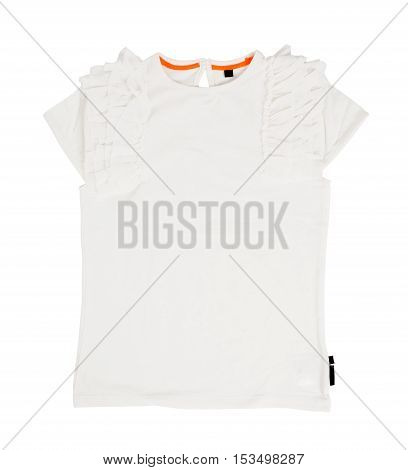 White cotton frilled t-shirt. Isolated on a white background.