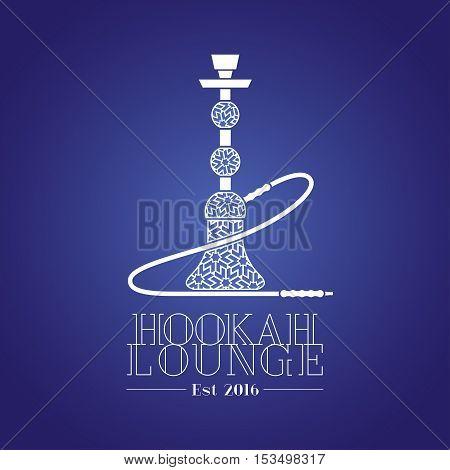 Hookah vector logo icon symbol emblem sign. Isolated decorative graphic design element for hookah lounge bar. Turkish Arabic style illustration