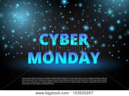 Cyber Banner. Special offer. Template ad. Shopping online. Holiday discounts. Christmas sale. Personal proposal. Vector illustration