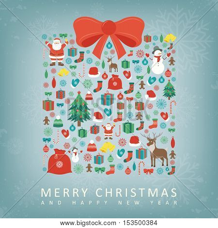 Christmas card with gift box sillhouette and christmas decoration elements. Vector illustration