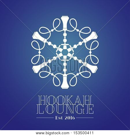 Hookah vector logo icon symbol emblem sign. Template graphic design element for menu of hookah and tobacco lounge bar chill out
