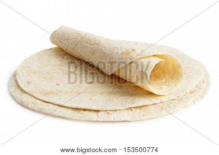 Stack Of Tortilla Wraps And One Folded Wrap Isolated On White.