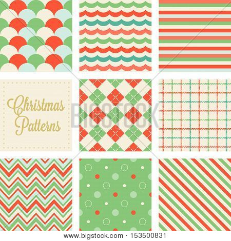 Christmas seamless green and red patterns in vintage style, wave, tattersall, zigzag, dot, diagonal stripe, fish scale, sea wave, argyle