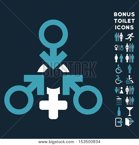 Triple Penetration Sex icon and bonus gentleman and female lavatory symbols. Vector illustration style is flat iconic bicolor symbols, blue and white colors, dark blue background.