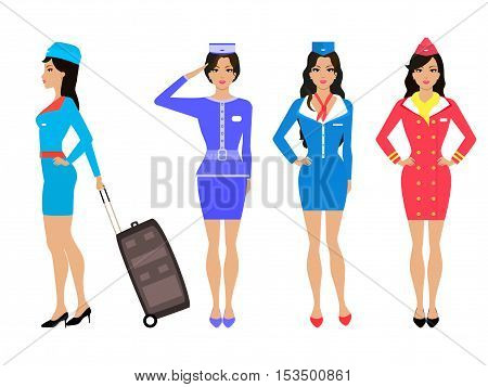 Vector illustration set of beautiful stewardess girl in a dress and skirt. Drawing isolated on white background. Air hostess in uniform with his luggage suitcase. Various forms of the flight attendant