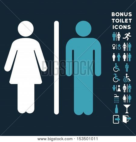 WC Persons icon and bonus male and woman WC symbols. Vector illustration style is flat iconic bicolor symbols, blue and white colors, dark blue background.