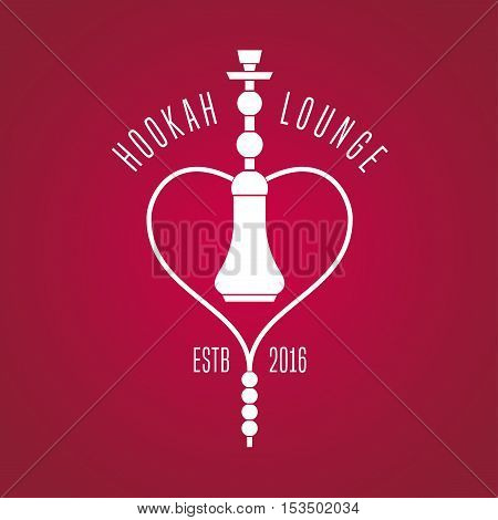 Hookah vector logo icon symbol emblem sign. Isolated decorative graphic design element for traditional hookah lounge bar. Turkish eastern style background