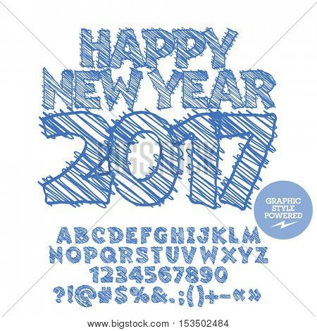 Vector drawn Happy New Year 2017 greeting card with set of letters, symbols and numbers. File contains graphic styles