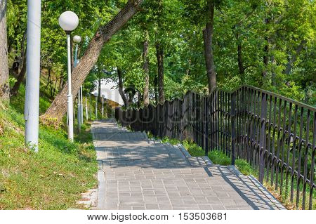 stairs in the Park leading down and lampposts