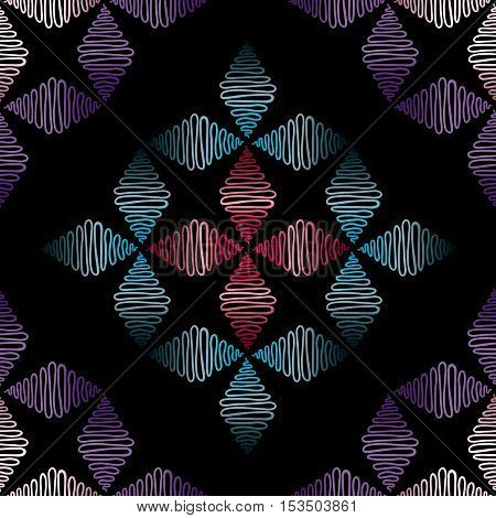 Abstract hand drawn seamless pattern. Modern tracery vector background.