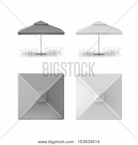 Vector Set of Gray Blank Patio Outdoor Market Beach Cafe Bar Pub Restaurant Square Umbrella Parasol  for Branding Top Side Front View Mock up Close up Isolated on White Background.