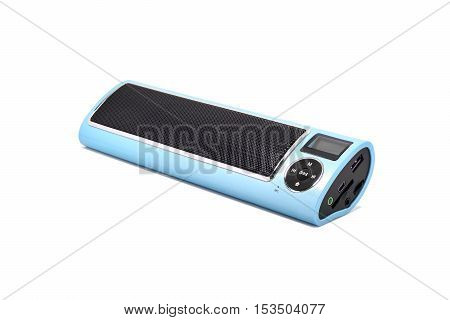 Wireless Bluetooth loudspeaker mp3 player and radio for computer notebook and smart phone on white background.