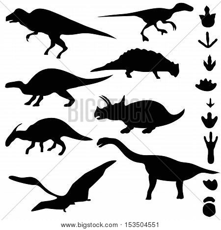 Symbols of dinosaurs and dinosaur footprints. Collection of dinosaur silhouettes.