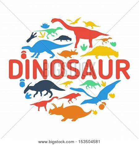 Dinosaurs symbols in shape of a circle. Collection of dinosaur silhouettes.