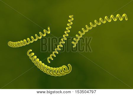 Treponema pallidum on colorful background, bacterium which causes syphilis, sexually transmitted bacterium, close-up view. 3D illustration poster