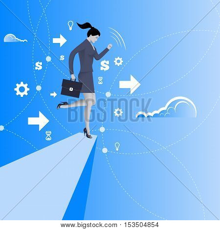 Balancing on the edge of the cliff business concept. Business lady in business suit with case balancing on the edge of the cliff. Concept of crisis crisis management. Vector illustration.