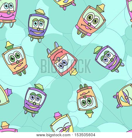Seamless pattern with funny kids trams, pastel colored. Vector illustration on blue stiped background. Kids style.