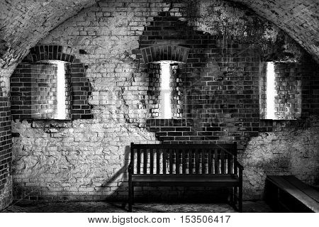 Inside view of Fort Barrancas near Pensacola FL featuring fortified windows designed for outgoing gunfire