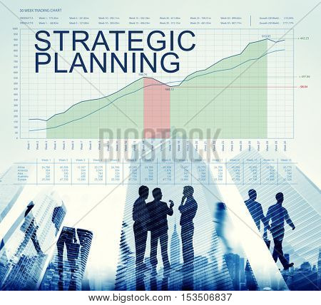 Strategic Plan Graphs Business Marketing Goals concept
