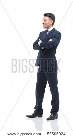 Portrait of the young  smiling turned businessman isolated on a