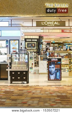 SINGAPORE - CIRCA SEPTEMBER, 2016: a cosmetics store at Changi Airport. Cosmetics, also known as make-up, are substances or products used to enhance the appearance or fragrance of the body.