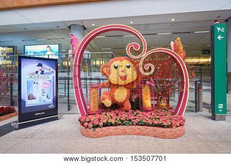 HONG KONG - 29 JANUARY, 2016: Chinese New Year decorations at Hong Kong International Airport. Hong Kong International Airport is the main airport in Hong Kong.