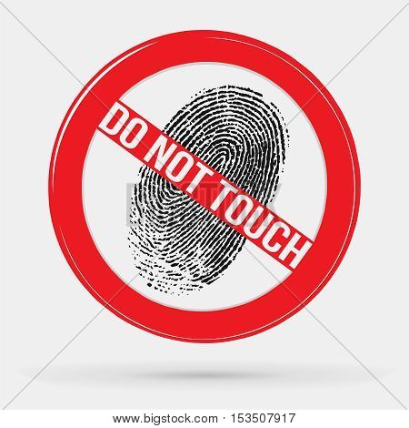 vector icon forbidden to leave fingerprints, touch, stop sign, fingerprint