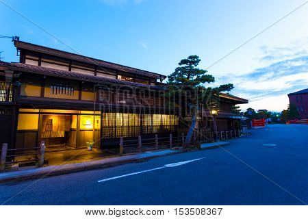 Takayama Old Town Traditional Wooden Home Dusk H