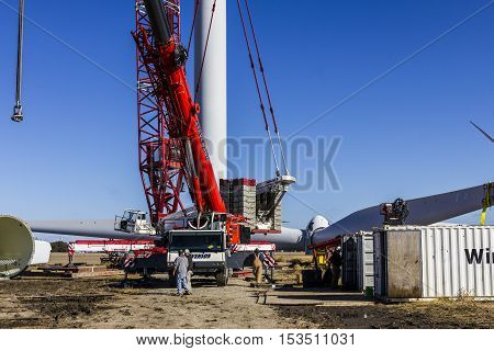 Tipton - Circa October 2016: Construction of a Wind Turbine. Wind and Solar Green Energy areas are becoming very popular in farming communities V