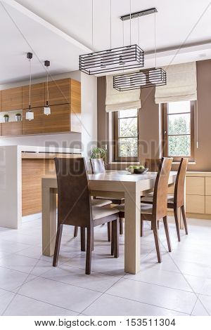 Dinning Room With Wooden Table