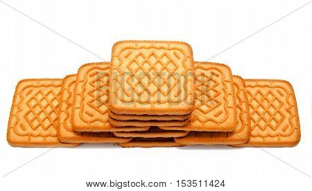 square Biscuit isolated on white background, cracker