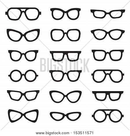 Eyeglasses black silhouettes vector icons set. Modern minimal design.