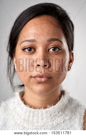 Portrait of real white caucasian woman with no expression ID or passport photo full collection of diverse face and expressions