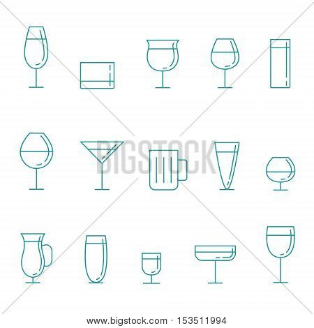 Stemware and glasses outline blue vector icon set. Clean and simple design.