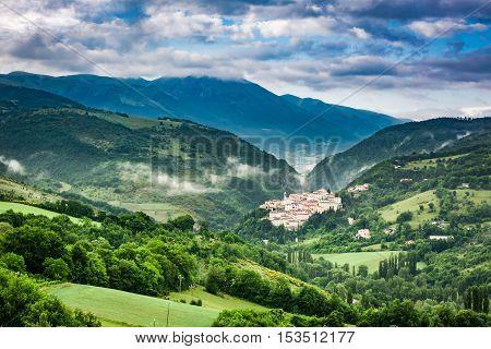 Sunrise Over The Village Of Preci In Umbria, Italy