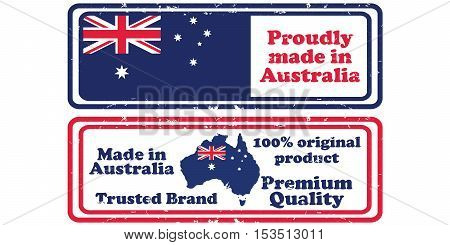 Made in Australia, Premium Quality - set of grunge labels / stickers / badges with the Australian map and flag. Print colors used