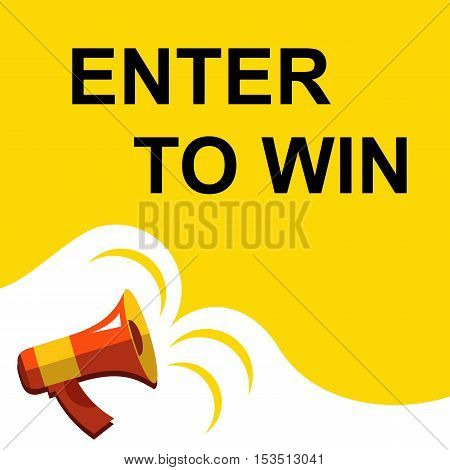 Megaphone With Enter To Win Announcement. Flat Style Illustration