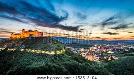 Breathtaking sunset over the castle in Spoleto Umbria Italy