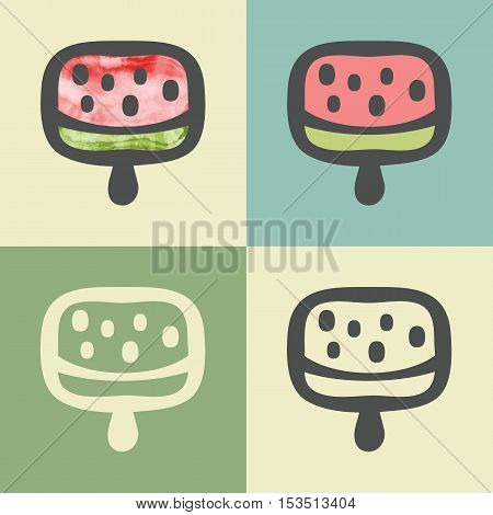 Vector outline icecream food icon with watercolor fill. Elements for mobile concepts and web apps. Modern infographic logo and pictogram.