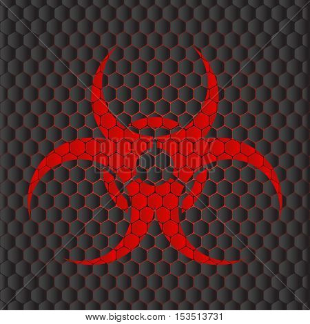 Abstract vector dark gray background with red biohazard symbol and red illumination.