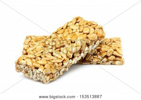 Bars with sunflower seeds isolated on white background.