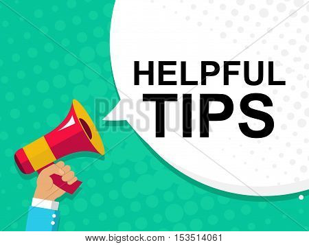 Hand Holding Megaphone With Helpful Tips Announcement. Flat Style Illustration