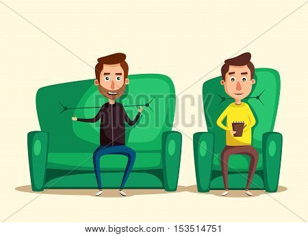 Patient talking to psychologist. Cartoon vector illustration. Psychotherapy counseling. Man dealing with stress. Psychology cabinet with sofa. Male character holding notepad poster