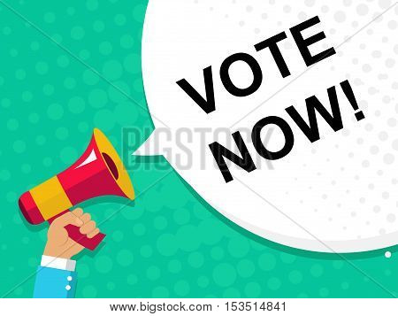 Hand Holding Megaphone With Vote Now Announcement. Flat Style Illustration