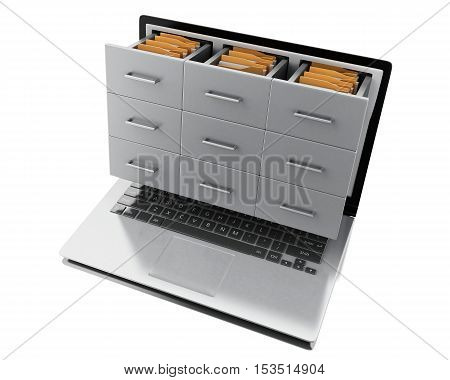 3d renderer image. Files and folders in laptop. Archive concept. Isolated white background.