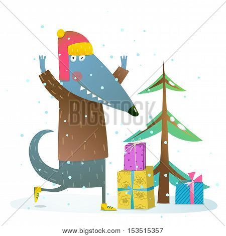 Fun animal with fur tree and presents. Happy Christmas eve or New year illustration. Vector cartoon.