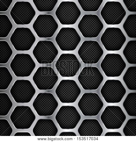 Metal Background, Hexagonal Honey Comb Stainless Steel Mesh, Vector Illustration