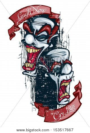Laugh Now, Cry Later Play Now, Pay Later Grunge Tattoo Clown