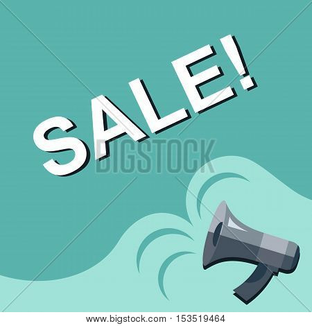 Megaphone With Sale Announcement. Flat Style Illustration