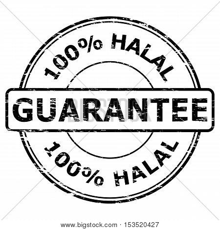 Grunge black 100% Halal Guarantee rubber stamp